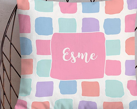 Girls Pastel Bedroom Pillow with Name, 18x18