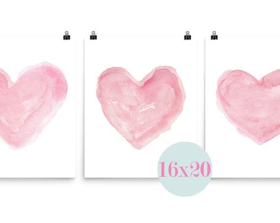 Pink Heart Prints, 16x20 Set of 3 for Girls Bedroom