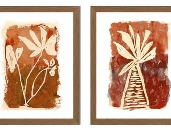 Terracotta Wall Art, Contemporary Botanical Prints, Rust Wall Art, Set of 2, Fall Botanical Art, Farmhouse Wall Decor, Office Wall Decor
