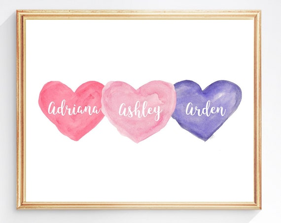 Girl Triplets Print in Pink and Purple, 8x10 Personalized Hearts Print