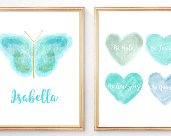 Personalized Aqua Butterfly Wall Decor, Girls Inspiration Print Set