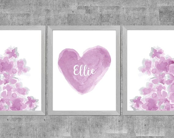 Mauve and Gray Flower Prints for Girls Bedroom