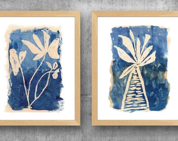 Blue Wall Decor for Office; Contemporary Indigo Botanical Prints