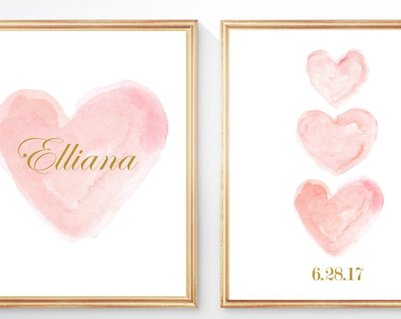 Blush Name and Birthday Print Set for Nursery, Set of 2 - 8x10 Watercolor Prints