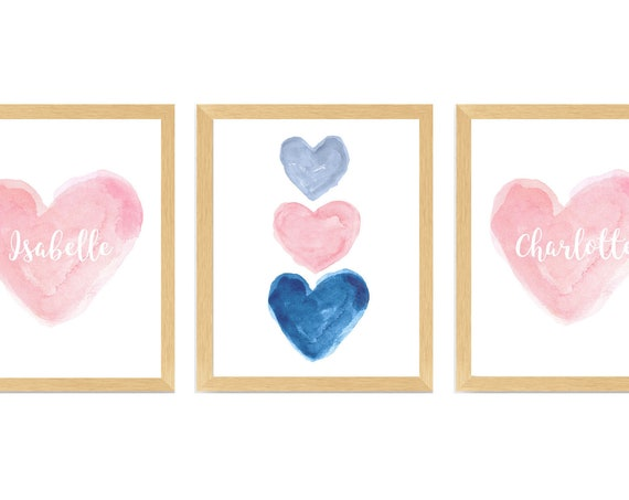 Pink and Navy Sisters Wall Decor, Set of 3 Personalized Watercolor Heart Prints