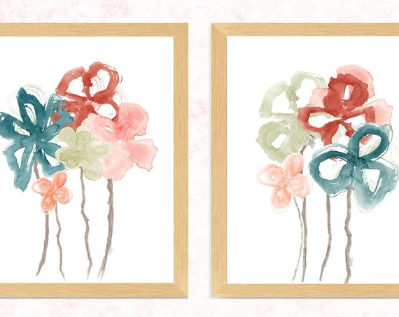 Blush and Teal Wall Decor; Set of 2 Boho Floral Bedroom Watercolor Prints