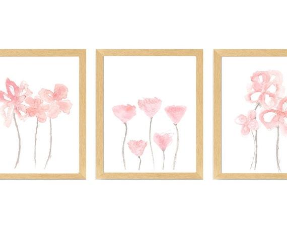 Contemporary Blush Floral Nursery Prints, Set of 3