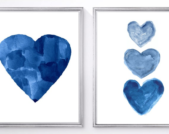 Nautical Decor, Set of 2  Navy Watercolor Heart Prints