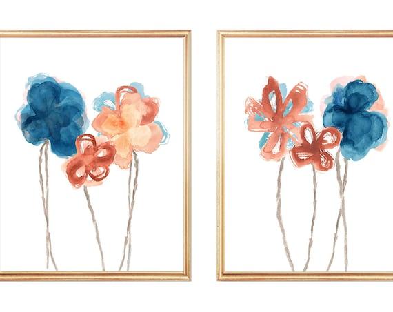 Rust and Indigo Floral Wall Decor; Set of 2 Watercolor Prints