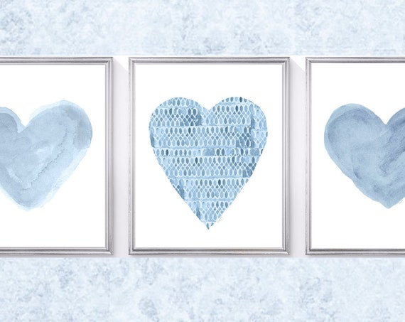 Denim Blue Prints, Set of 3 - 8x10 Artwork