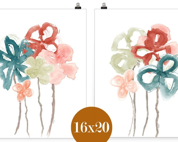 Blush and Teal Floral Prints, Set of 2-16x20