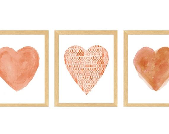 Terracotta Heart Prints, Set of 3
