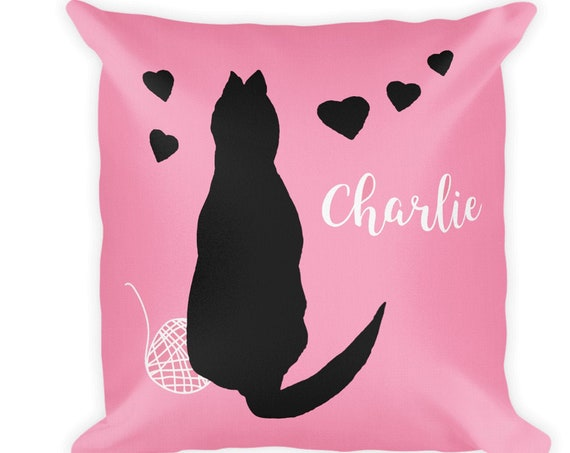 Pink Cat Pillow for Little Girl Personalized with Pet Name, 18x18