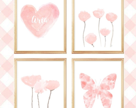 Blush Flowers and Hearts Gallery Wall, Set of 4 Watercolor Prints