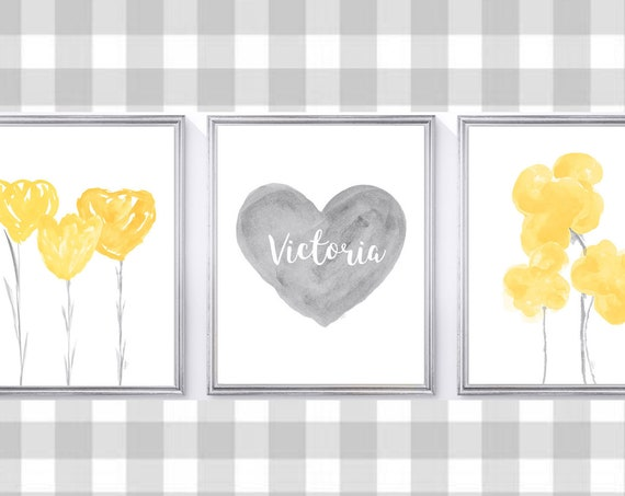 Yellow and Gray Girls Wall Decor, 8x10 Set of 3 Personalized Prints