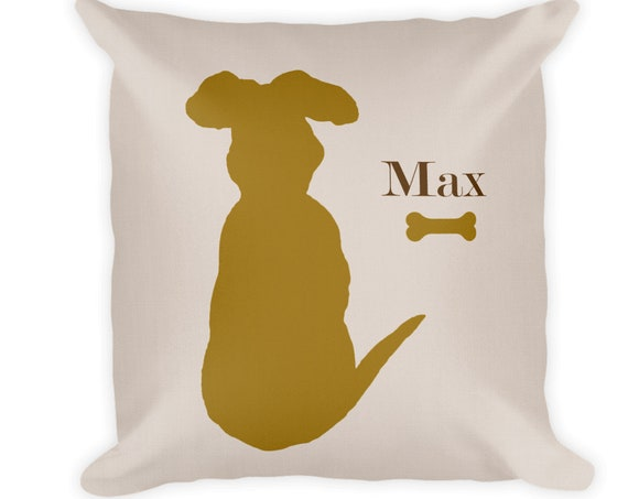Modern Dog Pillow with Personalized Name, 18x18