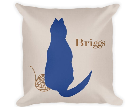 Cat Throw Pillow with Name, 18x18 in 12 Colors