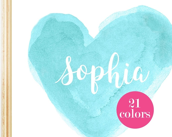 Personalized Turquoise Heart Print for Girls Bedroom, 8x10, 11x14