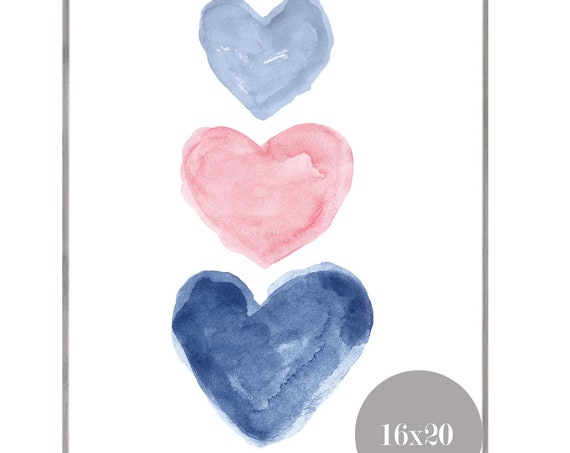 Pink and Navy Hearts Poster, 12x16, 16x20
