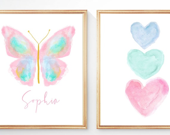 Pastel Butterfly Prints, Print Set of 2 for Girls Bedroom Decor