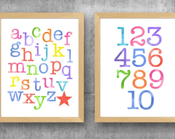 Learning Prints for Kids Playroom, Set of 2, ABC 123