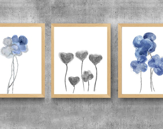 Blue and Gray Wall Decor, Set of 3-11x14 Floral Watercolor Prints
