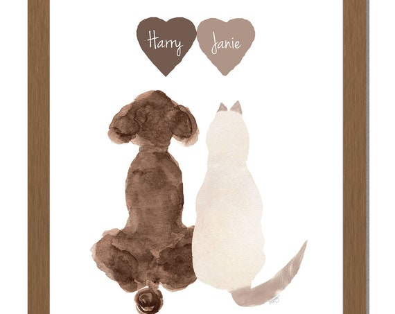 Poodle and Cat Personalized Print for Animal Lover