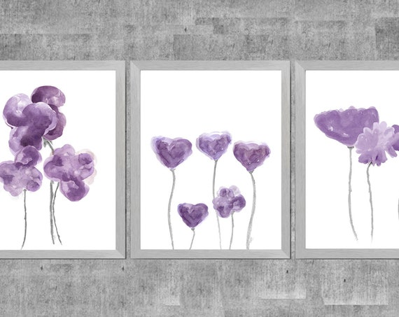 Plum Wall Art, Set of 3 Contemporary Floral Prints