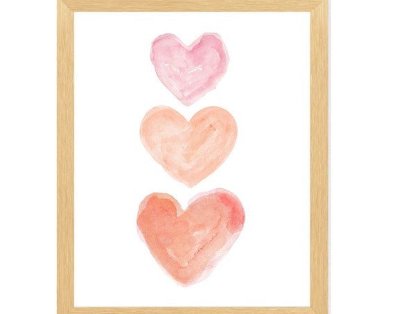 Coral and Pink Nursery Print; Heart Trio in 8x10 or 11x14