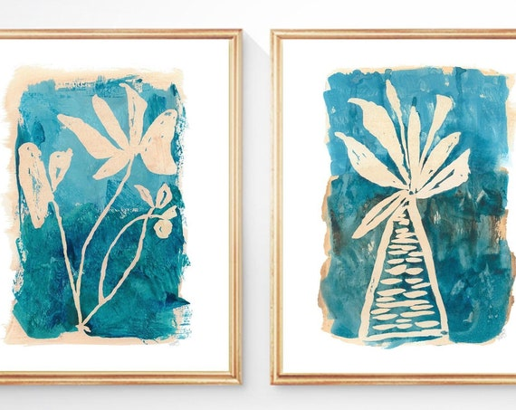 Turquoise Wall Art, Set of 2 Contemporary Botanical Prints