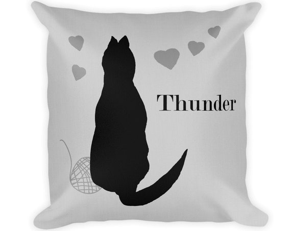 Black Cat Pillow with Name, 18x18