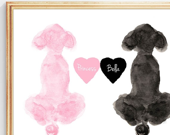 Two Poodles Artwork with Custom Names,
