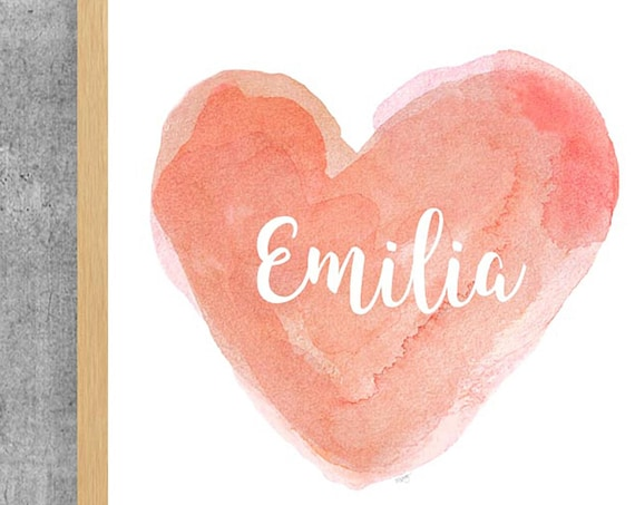 Personalized Coral Heart Nursery Print