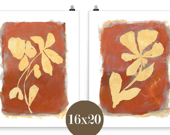 Rust Wall Decor, Set of 2-16x20 Botanical Farmhouse Prints