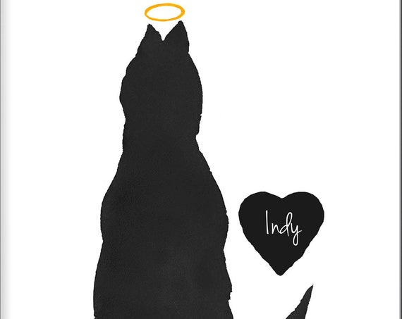 Cat with Halo Memorial Gift, Personalized Print