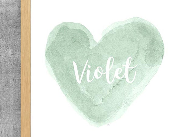 Personalized Mint Heart Print, 11x14 Watercolor