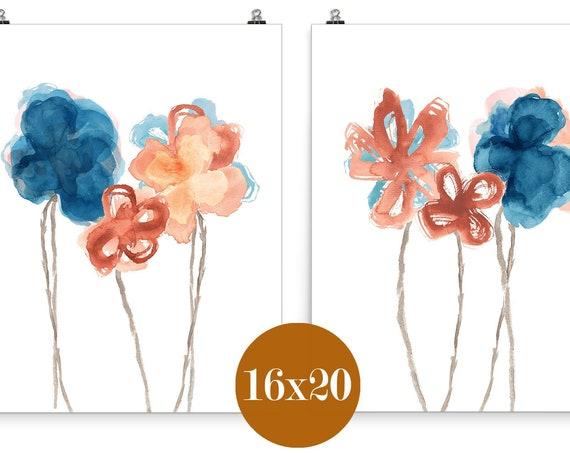 Farmhouse Floral Decor, Set of 2-16x20 Indigo and Rust Flower Prints
