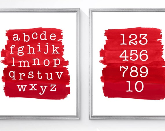 Red ABC 123 Prints, Set of 2-8x10