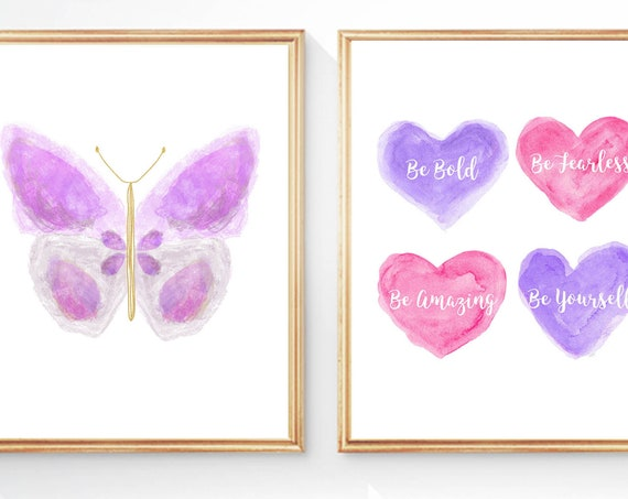Purple and Pink Wall Decor for Tween Girl's Room ; Set of 2 Inspirational Prints