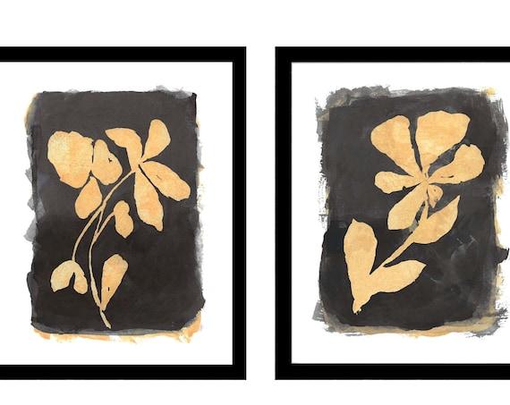 Black and Natural Wall Decor, Set of 2 Contemporary Botanical Prints
