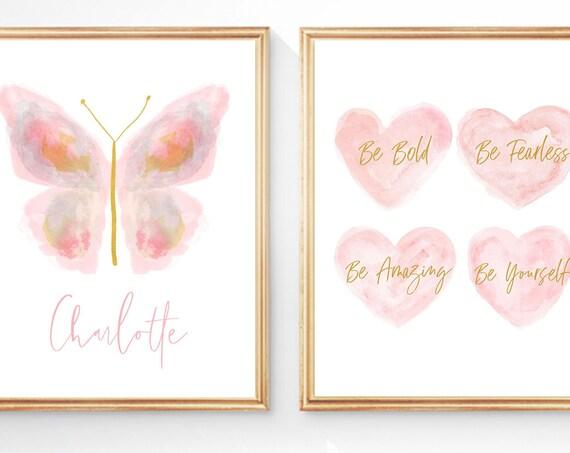 Personalized Blush Butterfly Inspirational Print Set