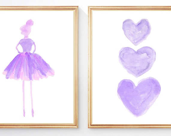 Purple Ballerina Print Set for Young Girl, 8x10 Set of 2