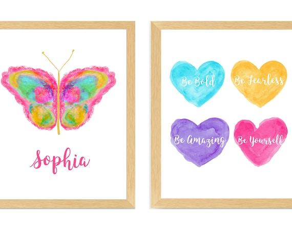 Tween Girl Bedroom Decor; Butterfly Inspirational Prints