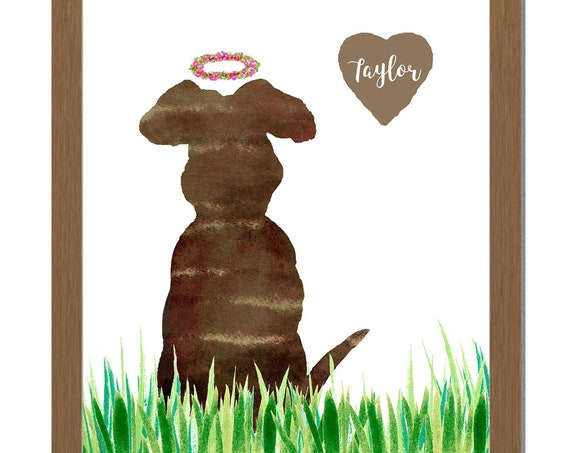 Dog with Flower Halo; Personalized Gift with Pet's Name