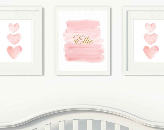 Blush and Gold Baby Nursery Prints, Set of 3-11x14