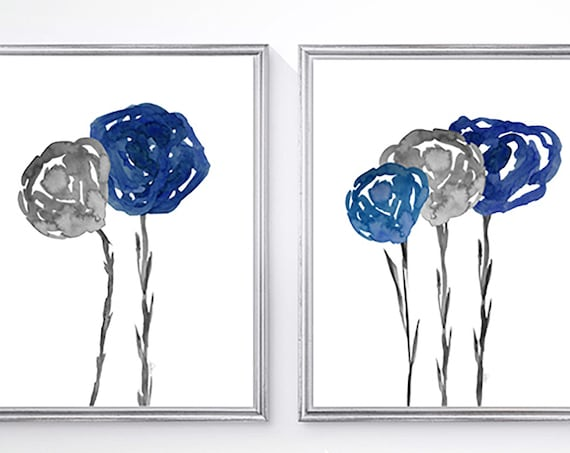 Navy and Gray Flower Prints, 8x10-Set of 2 Watercolor Prints