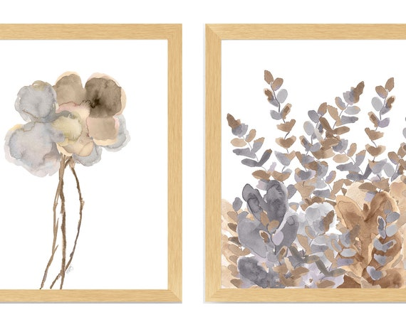Gold and Silver Wall Decor, Set of 2 Watercolor Flower Prints