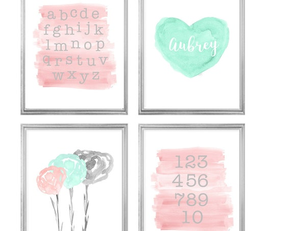 Seafoam Green and Blush Gallery Wall, Set of 4 Prints for a Big Girl Room