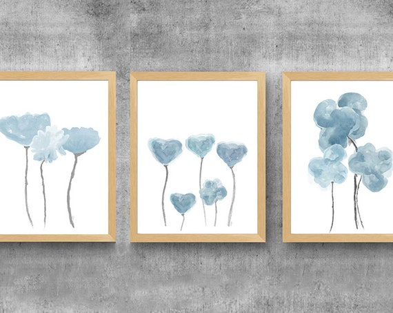 Dusty Blue Gray Wall Decor, Set of 3 Watercolor Flower Prints