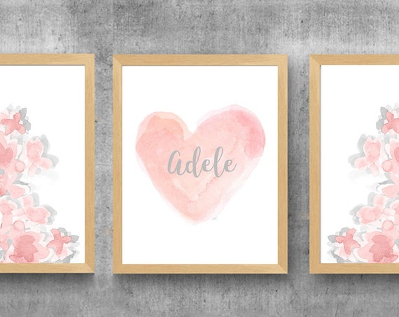 Blush and Gray Prints for Girls Room, Set of 3 Floral Watercolor Prints